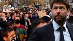 Während Fans gegen die Super League protestieren, gibt sich Juventus-Boss Andrea Agnelli nicht so leicht geschlagen. (Bild: APA/AFP/Adrian DENNIS, APA/AFP/Miguel MEDINA)