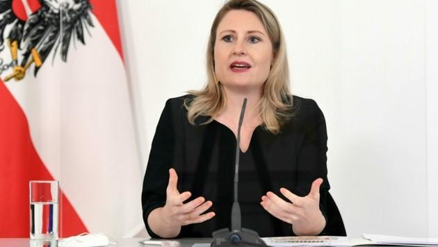 Familienministerin Susanne Raab (ÖVP) stellte am Mittwoch den sechsten österreichischen Familienbericht vor. (Bild: APA/HELMUT FOHRINGER)