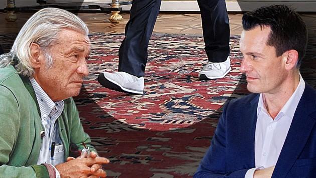 Uneins übers Schuhwerk: Michael Jeannée (li.) und Wolfgang Mückstein (Bild: APA/Roland Schlager, Krone KREATIV)