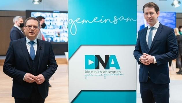 ÖVP-Klubobmann Wöginger mit Parteichef und Bundeskanzler Kurz (Bild: APA/ÖVP/Florian Schrötter)