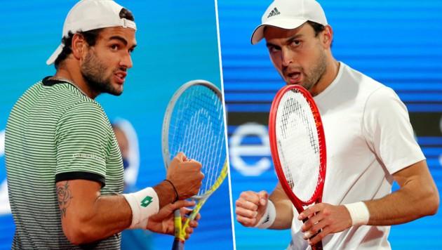 Matteo Berrettini (li.) und Aslan Karazew (Bild: APA/AFP/PEDJA MILOSAVLJEVIC)