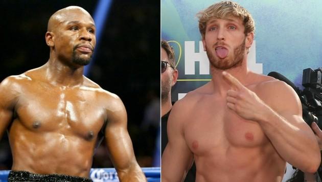 Floyd Mayweather Jr. (links) steigt gegen YouTuber Logan Paul in den Ring. (Bild: AFP)