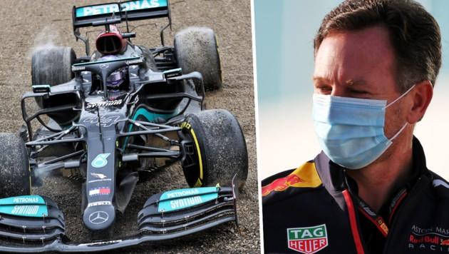 Lewis Hamilton (li.) und Christian Horner (Bild: GEPA )