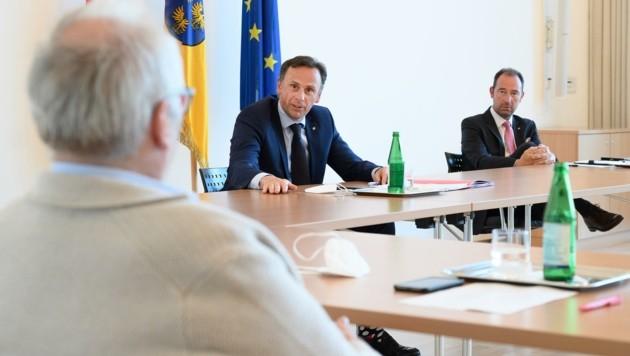 """Danninger und Pulker: """"Wir müssen die Wirte beim Comeback auch finanziell unterstützen!"""" (Bild: NLK Burchhart)"""