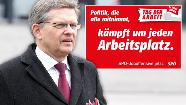 SPÖ-Bundesgeschäftsführer Christian Deutsch übt am Vortag des 1. Mai scharfe Kritik an der türkis-grünen Bundesregierung. (Bild: APA/ROLAND SCHLAGER, spoe.at, Krone KREATIV)