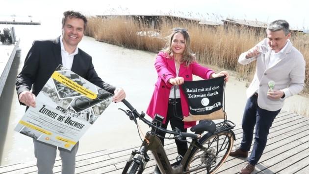 Didi Tunkel (li.), Lake's-Escape-Erfinderin Nina Meran und Marketingleiter Markus Pfeffer vom Burgenland Tourismus freuen sich auf einen sportlichen Rätselsommer am Neusiedler See. (Bild: Judt Reinhard)