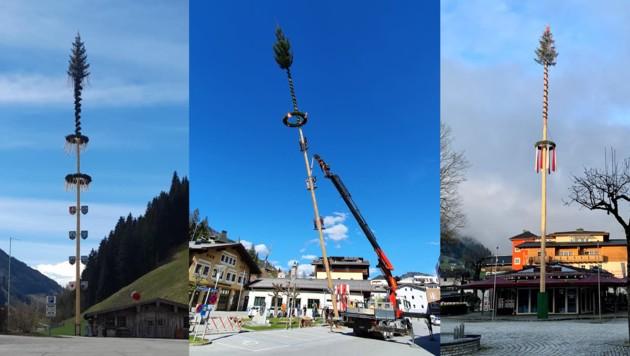 Die Maibäume in Rauris, Schwarzach und Kaprun (v. li.). (Bild: Facebook)