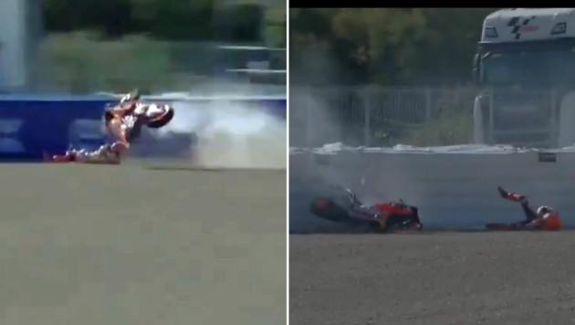Böser Abflug: Marc Marquez hatte Glück im Unglück (Bild: Twitter.com/TomrodF)