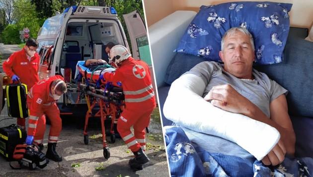 Franz Pölleritzer wurde im Einsatz von einer Baumkrone getroffen und schwer verletzt. (Bild: Monatrevue/Thomas Lenger, Privat, Krone KREATIV)