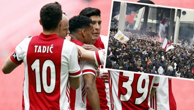 Die Ajax-Spieler jubeln auf dem Feld über den Meistertitel, die Fans (kleines Bild) vor der Johan-Cruijff-Arena. (Bild: APA/AFP/ANP/ROBIN VAN LONKHUIJSEN)