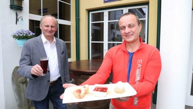 """Preiner und """"Karl-Wirt"""" Purt mit köstlicher Nachspeise (Bild: Judt Reinhard)"""