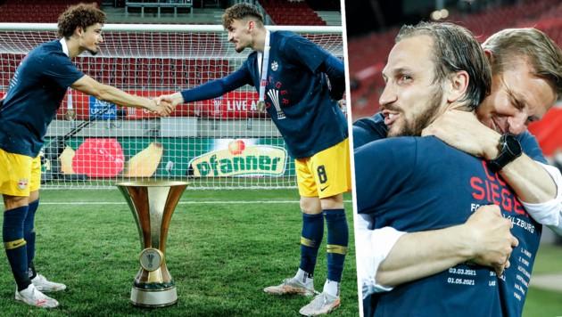 Andre Ramalho, Mergim Berisha, Andreas Ulmer und Jesse Marsch (von li. nach re.) jubeln über den Cup-Titel. (Bild: GEPA)