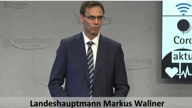 Landeshauptmann Markus Wallner informierte über die aktuellen Entwicklungen. (Bild: Screenshot)