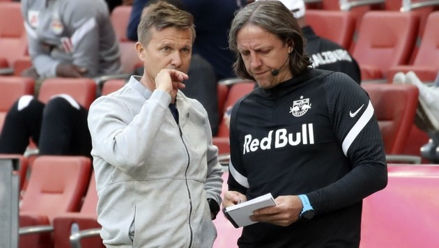 Liefering-Coach Rene Aufhauser (re.) gemeinsam mit Ex-Salzburg-Trainer Jesse Marsch. (Bild: Tröster Andreas)