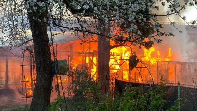 Brand von Gartenhütten in Bruck (Bild: FF Bruck/Mur)