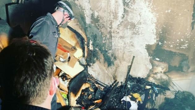 Im Keller brannten gelagerte Besitztümer ab (Bild: FF Frankenmarkt)