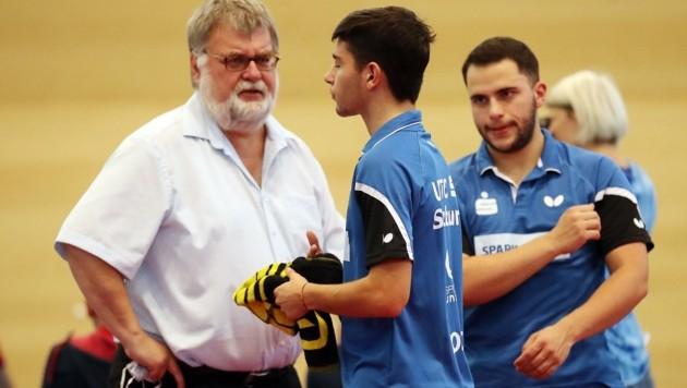 Er holte die Top-Legionäre zum UTTC: Walter Windischbauer mit Carlo Rossi, Francisco Sanchi (Bild: krugfoto/Krug Daniel sen.)
