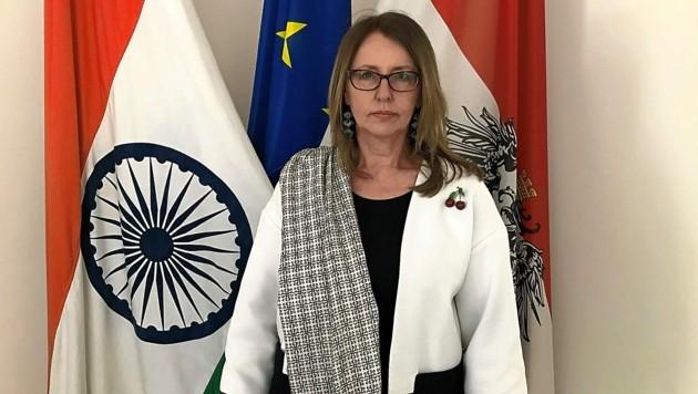 Botschafterin Öppinger-Walchshofer in Neu-Delhi (Bild: Gregor Brandl)