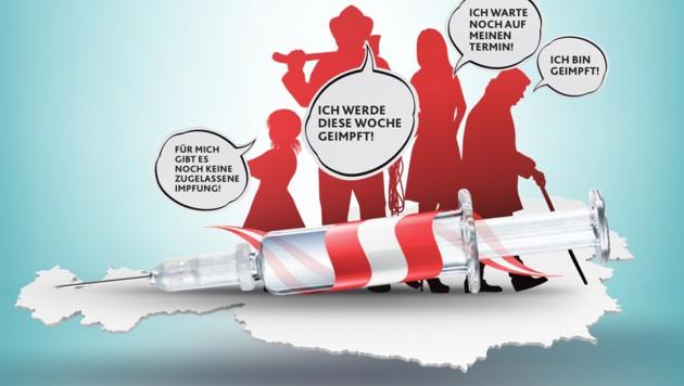 Mit knapper Not hat Österreich bei der Impfquote jetzt die 60-Prozent-Quote übersprungen. (Bild: stock.adobe.com, Krone KREATIV)