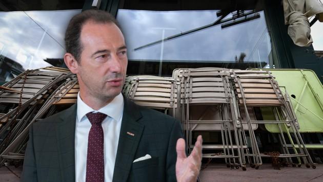 Gastro-Spartenobmann Mario Pulker fordert härtere Sanktionen. (Bild: APA/GEORG HOCHMUTH, APA/HELMUT FOHRINGER, Krone KREATIV)