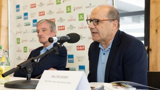 Walter Weber (r.) bestätigte auf der Pressekonferenz am 5. Mai 2021, dass auch nach Absage der nationalen Elite keine Österreichischen Athleten auf der Warteliste stehen. (Bild: Maurice Shourot)