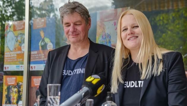 Hakon Hirzenberger und Bernadette Abendstein, die Gründer des Steudltenn-Festivals. (Bild: Hubert Berger)