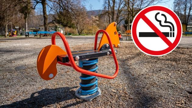 Veronika Marte setzt sich dafür ein, dass die Bregenzer Kinderspielplätze rauchfrei werden. Zigarettenreste hätten dort einfach nichts verloren. (Bild: Dietmar Stiplovsek, stock.adobe.com, Krone KREATIV)
