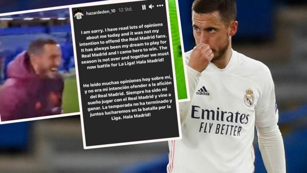 Nach dem CL-Aus von Real Madrid war Eden Hazard für manche Fans und Beobachter zu gut gelaunt. Via Insta-Story entschuldigte er sich. (Bild: AP, YouTube.com, Instagram.com/hazardeden_10)