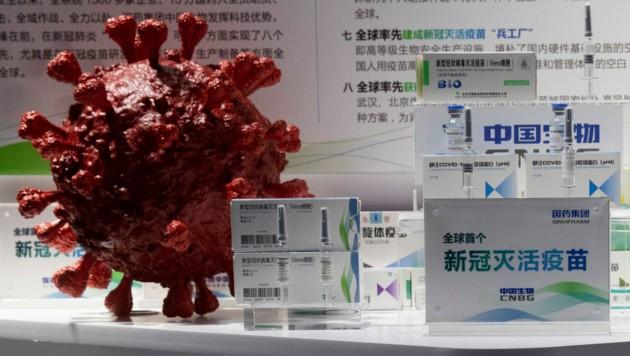 Der Impfstoff des chinesischen Herstellers Sinopharm wurde bereits vergangenen September auf einer Messe in Peking vorgestellt. (Bild: AP)