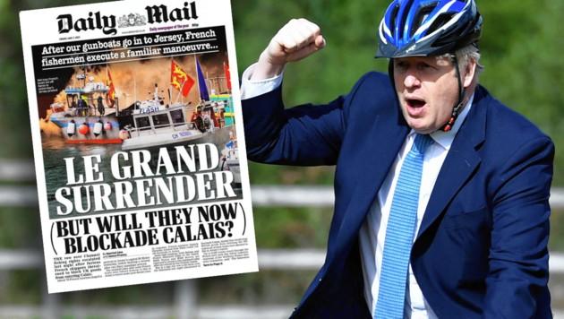 """Die britische Presse lacht über die """"Kapitulation"""" der französischen Fischer. Premier Johnson hatte zur Abschreckung sogar ein Kanonenschiff losgeschickt. (Bild: Picturesdesk.com/Daily mail, Krone KREATIV)"""