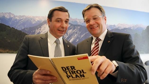 2013 wurde der Tirol-Plan der Tiroler VP präsentiert. Das Duo Malaun und Platter scheint noch viel vorzuhaben. (Bild: Christof Birbaumer)