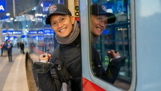 Vincent Bueno fuhr mit dem Nightjet nach Rotterdam. Ab 18. Mai geht es dort mit dem ESC los. (Bild: ORF)
