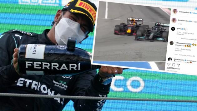 Lewis Hamilton bei der Sektdusche (li.) und beim entscheidenden Überholmanöver gegen Max Verstappen. (Bild: AP, Instagram.com/Lewis Hamilton)