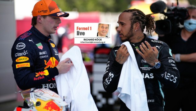 Max Verstappen (li.), Lewis Hamilton (Bild: AP)