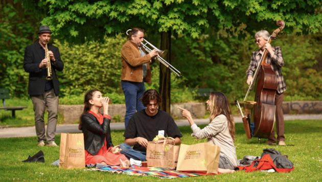 An einem Sommertag ein Picknick von heimischen Top-Gastronomen im Kärntner Freiluft-Wohnzimmer genießen. Genau das ermöglicht die Aktion #picknickfordistance. Mit etwas Glück gibt's Livemusik oben drauf. (Bild: Picknick for Distance/ Foto Neumüller)