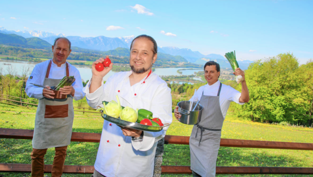 Die Wirte Georg Riepl, Heinz Esterl, Hanno Schilcher werden die Bürger kulinarisch verwöhnen. (Bild: Evelyn Hronek)