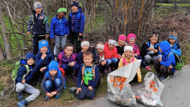 Auch der Kindergarten Virgen hat bei der Reinigung geholfen. (Bild: Nationalparkgemeinde Virgen)
