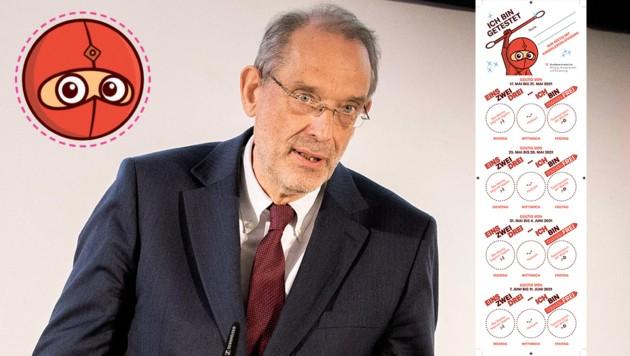 Bildungsminister Heinz Faßmann (ÖVP) stellte am Mittwoch den Testpass vor. (Bild: Copyright: APA/Georg Hochmuth, Krone KREATIV)
