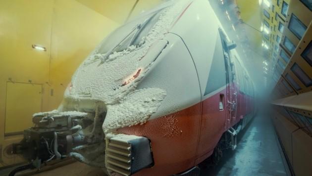 """Dieser Deal ist """"eingefroren""""- wie auf dem Bild, wo der ÖBB Cityjet vom Typ """"Talent 3"""" einer Vielzahl an technischer Tests unterzogen wurde. (Bild: zvg/Bombardier Transportation)"""