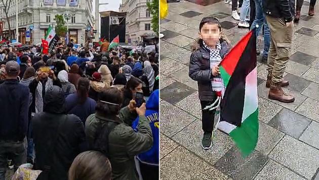 Die Demo auf der Mariahilfer Straße am Mittwochnachmittag. Auch Kinder waren bei der Kundgebung anwesend. (Bild: facebook.com/abdulhkeem.alshater)