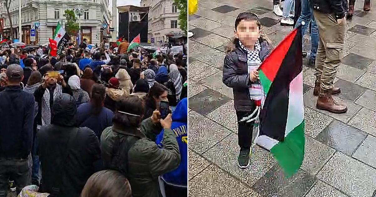Anti-Israel-Demo auf Mariahilfer Straße in Wien