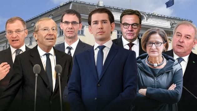 Die sechs ÖVP-Landeshauptleute haben sich in einem gemeinsamen Statement klar hinter ihren Parteichef Sebastian Kurz gestellt. (Bild: APA, Krone KREATIV)