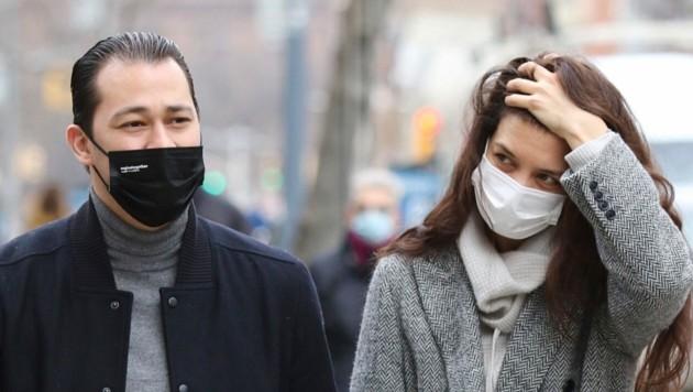 Katie Holmes und Emilio Vitolo Jr. im März 2021 in New York: Da war die Liebe noch in Ordnung. (Bild: www.PPS.at)