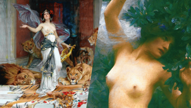 "Arthur Hackers ""Daphne"" (1890); Wright Barkers ""Circe"", die Besucher in Tiere verwandelt. (Bild: city of bradford metropolitan district council and galleries)"