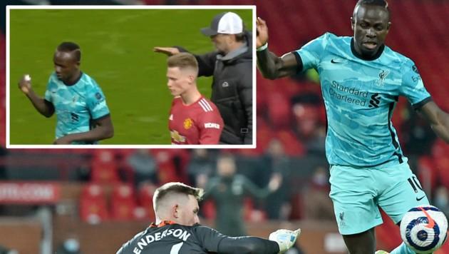 Sadio Mane verweigerte Jürgen Klopp (im kleinen Bild rechts) den Handschlag. (Bild: AP, Twitter.com/Football Daily)