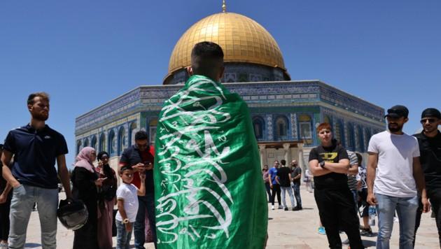 Ein Jugendlicher mit der Flagge der radikalislamischen Hamas vor dem Felsendom (Bild: AFP)