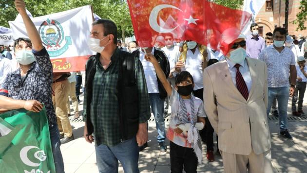 Am Freitag demonstrierten Türken im ganzen Land für die Palästinenser im derzeit eskalierenden Israel-Palästina-Konflikt. (Bild: AFP)