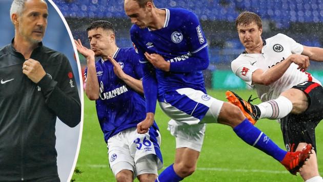 Bitter: Martin Hinteregger (re.) und Frankfurt mit Trainer Adi Hütter (ganz links) bissen sich an Absteiger Schalke die Zähne aus. (Bild: EPA, APA/AFP/POOL/LEON KUEGELER)
