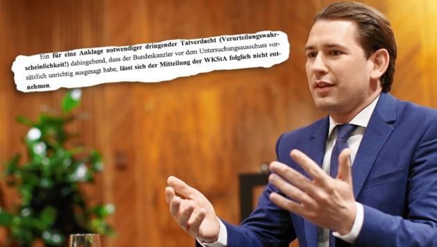 Sebastian Kurz (ÖVP) wird am Montag wohl im Nationalrat Fragen der Opposition beantworten müssen. Im Bild: Das Gutachten des Strafrechtlers Hinterhofer (Bild: Peter Tomschi, Screenshot, Krone KREATIV)