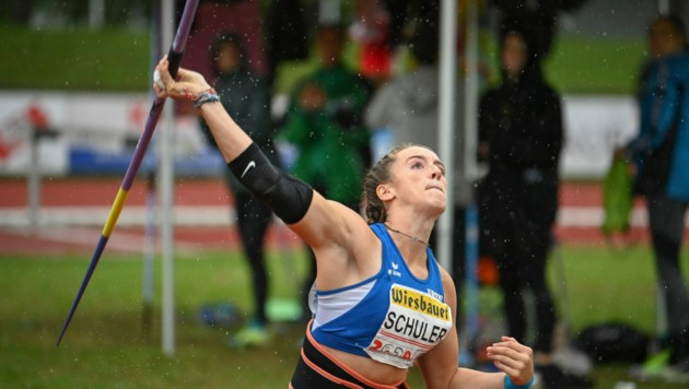 Mit einer Weite von 48,70 Meter verbesserte Chiara Schuler den Vorarlberger Landesrekord, den sie selbst 2019 aufstellte, um 1,57 Meter. (Bild: VLV / Manfred Gasser)